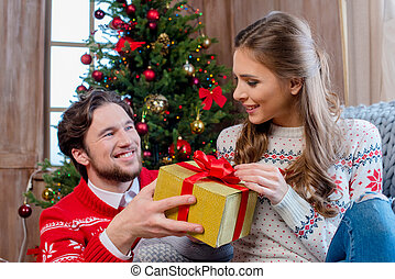 Happy couple with christmas present
