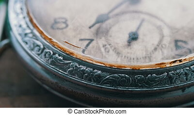 Macro vintage pocket watch closeup - Antique clock dial...