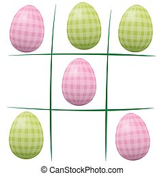 Easter Eggs Tic Tac Toe - Easter eggs playing tic tac toe -...