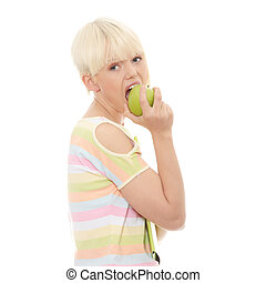 Beautiful young woman eating apple Isolated on white