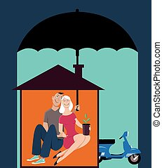 Homeowners insurance - Happy couple sitting in a house, man...