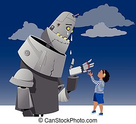 Compassion - Giant robot crying, little girl comforting it,...