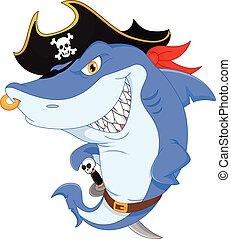 Cute shark pirate cartoon - vector illustration of Cute...
