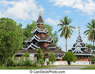 Burmese wooden temple in Mae Hong Son, Thailand - Wat Hua...