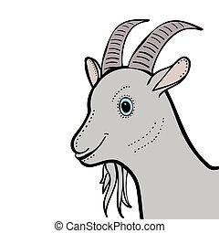 Goat cute funny cartoon head