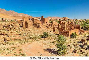 Ruins of Kasbah in Tinghir, Morocco - Ruins of Kasbah houses...