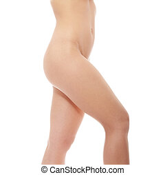 Close up photo of nude body of young fit female, isolated on...
