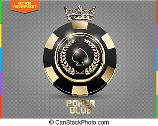VIP poker black and golden chip vector. Royal poker club casino emblem with crown, laurel wreath and spades isolated on transparent background