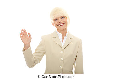 Bye - Young businesswoman with raised hand in mid-air...