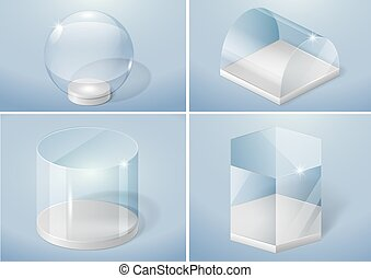 Set of glass shapes - Set of glass forms of sphere, prism,...