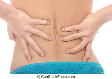 Young woman with pain in her back Isolated