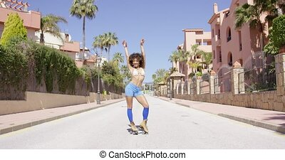 Female riding on roller skates