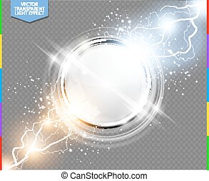 Abstract metal chrome ring power science transparent background. Electric shine round tech frame white space, energy lightning. Light effect with sparks. Fiction vector glowing stainless steel round