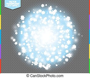 White abstract explosive with spark and snowflake. Glow blue star burst light effect. Sparkles winter vector transparent background. Christmas or New Year flash Concept.