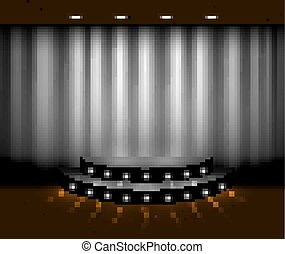 Vector silver curtain stage scene with spotlights and wooden floor