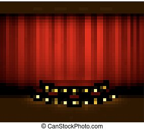 Vector red curtain stage scene with spotlights and wooden floor