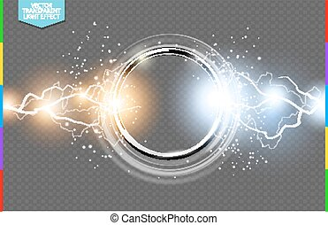 Abstract metal chrome ring power science transparent background. Electric shine round tech frame, energy lightning. Light effect with sparks. Fiction vector glowing stainless steel round
