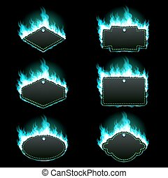 Set of six frames surrounded with azure flame - Set of six...