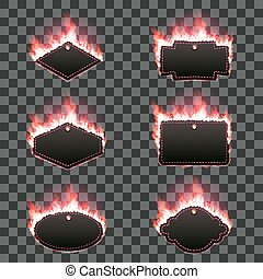 Set of six frames surrounded with red flame - Set of six...