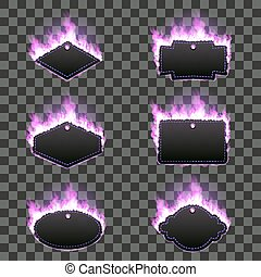 Set of six frames surrounded with purple flame - Set of six...