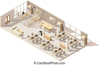 Vector isometric low poly office. Includes boss room,...