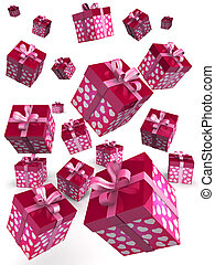 Valentine gift box falling concept