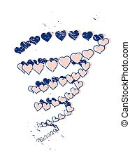 Hearts tornado with graphic texture and print effect