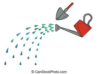 Gardening tools - Watering can with water sprinkling from it...