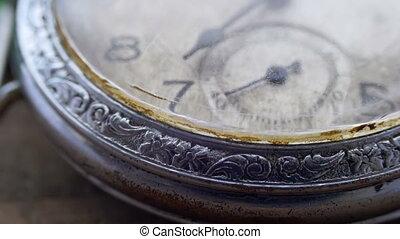 Macro vintage pocket watch closeup - Antique clock dial...