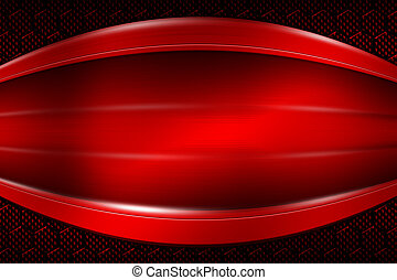 red banner on red carbon fiber hexagon.