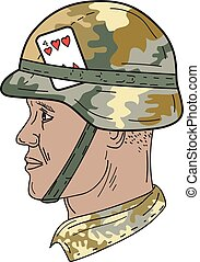African American US Army Soldier Helmet Playing Card Drawng...
