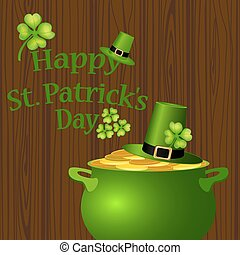 Poster St. Patrick hat with clover and cylinder vector