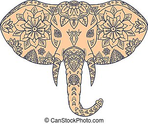 Elephant Head Tusk Mandalaa - Mandala style illustration of...