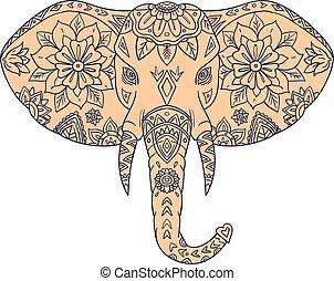 Elephant Head Tusk Mandalaa - Mandala style illustration of...