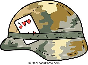 US Army Helmet 4 of Hearts Playing Card Drawing - Drawing...