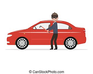Vector illustration cartoon robber steals a car - Vector...