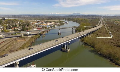 Snohomish River Route 2 Vehicle Traffic Everett Washington -...