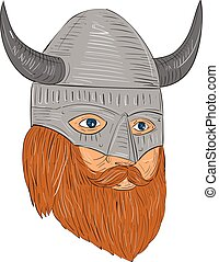 Viking Warrior Head Three Quarter View Drawing - Drawing...