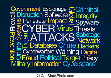 攻撃, 単語,  Cyber, 雲