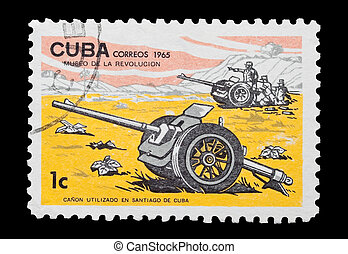 cuban artillery - mail stamp printed in Cuba featuring...