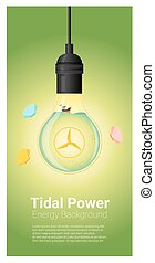 Energy concept background with tidal energy in light bulb 3...