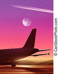 airport in bright of the moon - airport and part of plane in...