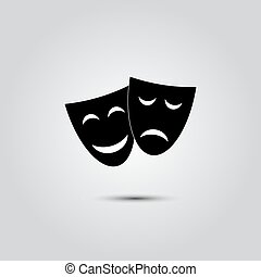 Happy and sad Theater masks - Dramatic masks - icons...