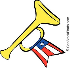 Trumpet with USA flag icon cartoon