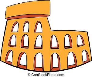 Roman Colosseum icon cartoon - Roman Colosseum icon in...