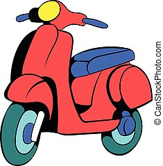 Red scooter icon cartoon - Red scooter icon in cartoon style...