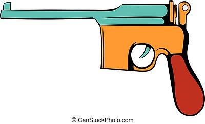 German pistol icon cartoon