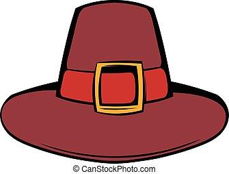 Pilgrim hat icon cartoon - Pilgrim hat icon in cartoon style...