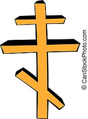 Orthodox cross icon cartoon - Orthodox cross icon in cartoon...