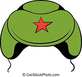 Soviet military cap earflaps icon cartoon
